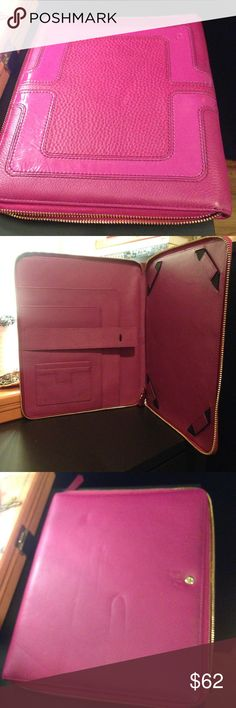 DVF Pink IPad Portfolio/Tablet Zip Up Case DVF- pink zip up leather tablet/portfolio case. Inside has multiple pockets, snap button on left size- gold tone zipper - back has a small indent but should fade away- has been in storage for a while and does not fit my tablet anymore. Very cute and the front has no visible markings! In good condition and waiting to be used! Diane von Furstenberg Accessories Laptop Cases