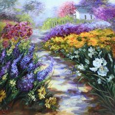 Morning Mist Cottage Path 36X36 , painting by artist Nancy Medina