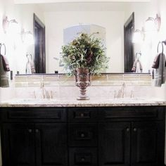 Bathroom black and white tile black cabinets Design Ideas, Pictures, Remodel and Decor