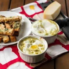Baked Eggs with Creamy Greens & Toast Fingers {recipe}