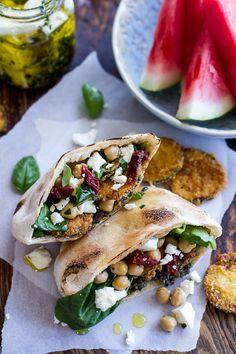 Greek Olive Pesto and Fried Zucchini Grilled Pitas w/Marinated Feta + Garbanzo Beans