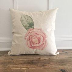 Rose Watercolor Pillow Cover