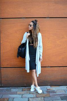 Denim shirt + pencil skirt + croptop + sneakers