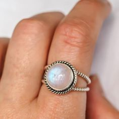 Silver Double Twist Moonstone Ring | Bohemian Gypsy Festival Jewellery | Indie and Harper