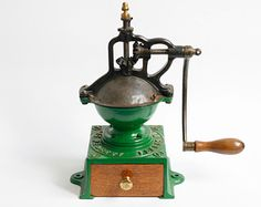 Who needs electric to grind coffee beans.  Etsy,antique Peugeot coffee grinder A0, cast iron coffee mill,