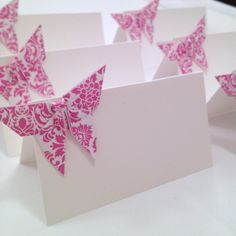 Origami Butterfly Place Cards, Wedding Escort Cards - Favor sets of 20 -Damask print any color. $28.00, via Etsy.