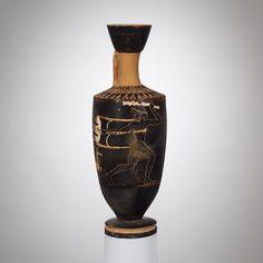 Terracotta lekythos (oil flask) | Greek, Attic | Archaic | The Met