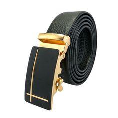 d62718cb98cdc0 Mens Leather Belt Slide Buckles Ratchet Work DESIGNER Slidebelts Gold Style  | eBay