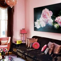 Rose pink, sparkly lighting and sensual textiles, pulled back from the boudoir brink with chocolate velvet sofa and some upscaled
