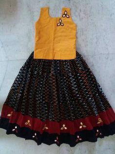 Best 12 Trendy kalamkari Cotton Pattu Pavadai Sleeves are attached inside separately – SkillOfKing.