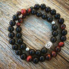 I AM AT PEACE #mantra ..stress relief and inner balance double wrap bracelet! #mantrahj #innerpeace #yogamtl #healing #gemstonejewellery #crystalhealing #mtl #om #namaste #raiseyourvibration #buddha #balance