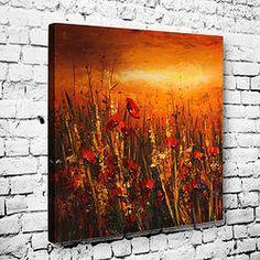 Floral Kızıl Tablo (Çiçek temalı tablolar ile yaşam alanlarınızı renklendirin.) www.dekortik.com