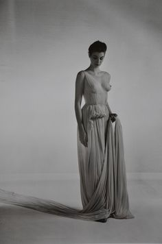 Dress by madame grès photographed by willy maywald . (1954).