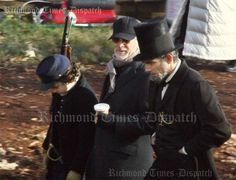 """Lincoln set-- can't get over how cute Tad is! He's giggling to himself about something...probably about DDL talking to Spielberg as """"Lincoln"""". XD"""