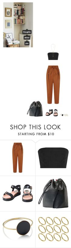 """""""Here And Now"""" by subpop ❤ liked on Polyvore featuring Sandro, Calvin Klein Collection, MANGO, Étoile Isabel Marant, ASOS, Charlotte Russe, Summer, flatform, bandeau and trousers"""