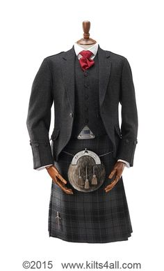 Charcoal lightweight tweed jacket and waistcoat with our own designed kilt. Grey Highlander - available for you to purchase or hire from Kilts4all, Kings Cross, London