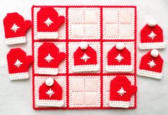 Tic Tac Toe Game Mittens and Hats Red by gailscrafts on Etsy Plastic Canvas Tissue Boxes, Plastic Canvas Crafts, Plastic Canvas Patterns, Tent Stitch, Yarn Braids, Cotton Polyester Fabric, 4 Ply Yarn, Tic Tac Toe Game, Game Pieces