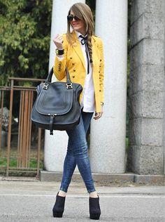 Yellow blazer + skinny jeans. Yes.