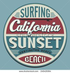 California surf sport typography, t-shirt graphics, vectors