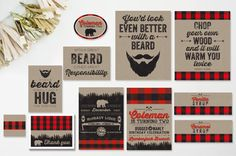 Seen on KARA'S PARTY IDEAS - Lumberjack Party Set - DoubleSided Invitation, Signs, Thank You Card, Buffet Labels, Syrup Wraps, Label Design