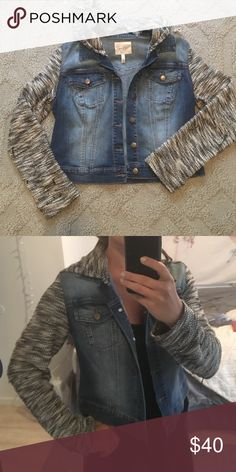Cropped demin jacket Jessica Simpson, hood is removable! Only wore once and the sleeves are very soft and comfy Jessica Simpson Jackets & Coats Jean Jackets