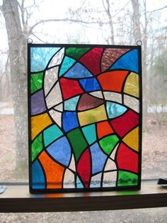 Stained Glass Panel, Multi Colored Abstract. $55.00, via Etsy.