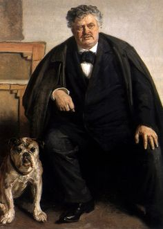 Michael Peter Ancher (Danish, 1849-1927) : Portrait of Carl Locher with his Dog Tiger, 1909.