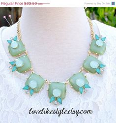 ON SALE Mint  Green Gold Chain Statement Necklace , Bib Necklace, Bridesmaid Necklace,Mint Necklace
