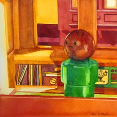 """""""Listening To Records"""" 5"""" x 5"""" - watercolor on paper  http://www.dailypaintworks.com/Artists/kara-k-bigda-394"""
