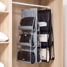 Handbag Pocket Hanging Organizer is a handy, a closet organizer that makes a great all-purpose storage solution for your frequently used clothing accessories, handbags and more. Handbag Storage, Handbag Organization, Home Organization, Purse Organizer Closet, Wardrobe Closet, Master Closet, Closet Bedroom, Dorm Closet, Closet Hacks