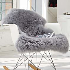 Eames + sheepskin for small rocker