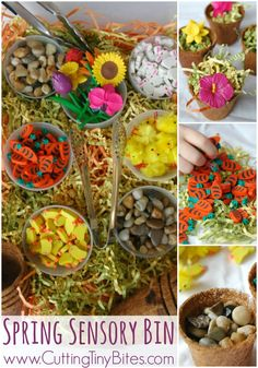 Spring Sensory Bin.  Great fun for kids!  Perfect for preschool spring, flower, or Easter theme.