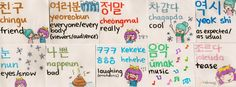 Korean Flashcards 5- Friend, everyone/everybody, really, cool, as expected/as usual, eyes/snow, bad, laughing, music, tease