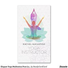 Elegant Yoga Meditation Pose Lotus Pattern Business Card