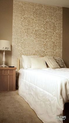 Bedroom Ideas Damask diy stenciled accent wall behind headboard using the anna damask