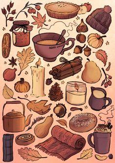 Autumn Aesthetic, Aesthetic Art, Fall Wallpaper, Wallpaper Backgrounds, Illustration Inspiration, Autumn Illustration, Arte Sketchbook, Autumn Cozy, Cosy Winter