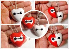 Big Hero 6 inspired - Baymax nurse robot & Image No. 30 BFF Heart pendant Necklace Set / keychain / brooch / Made to Order