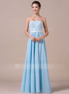 A-Line/Princess Sweetheart Floor-Length Chiffon Charmeuse Lace Bridesmaid Dress With Bow(s) (007057699)