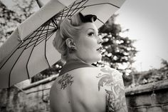 over the shoulder with parasol