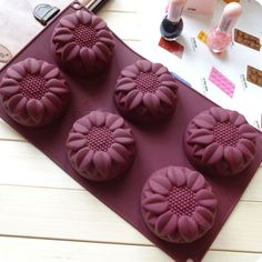 ea109b8111 Purple 6 Flower Sunflower Silicone Cake Chocolate Baking Mould Cupcake Mold  Tray