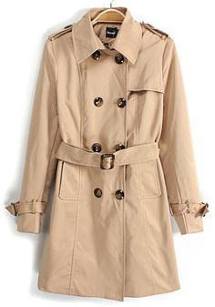 Beige Belt Turndown Collar Cotton Blend Trench Coat $57