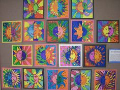 """Artolazzi: Warm/Cool Suns: 'In Art class, 4th graders studied different types of lines while creating these sun drawings. Students also had to show an understanding of warm and cool colors while they were coloring their designs with markers'. *Thank you to my friend over at """"what's happening in the art room"""" blog for this idea!*"""