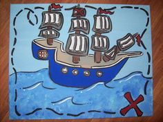 Pirate ship painting going in Nixon's room:) I love all her stuff.