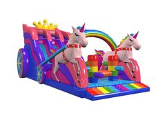 Unicorn princess carriage inflatable slide fork kids, especially for little girls. Unicorn Inflatable, Inflatable Water Park, Inflatable Island, Bouncy House, Bouncy Castle, Unicorn Birthday Parties, Unicorn Party, Rainbow Unicorn, Cool Pool Floats