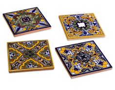 Spanish Garden Talavera Coasters (Set of 4): Home & Kitchen