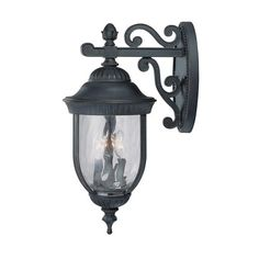 Castlemain Black with Gold Medium Outdoor Wall Mount