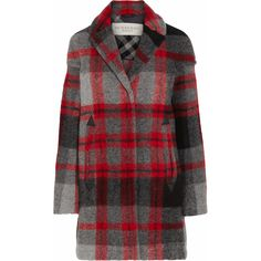 Burberry Brit Plaid wool-blend coat ($548) ❤ liked on Polyvore featuring outerwear, coats, jackets, burberry, coats & jackets, red, red coat, burberry coat, tartan coat and plaid coat