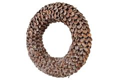 """One Kings Lane - White Christmas - 14"""" Frosted Pinecone Wreath"""