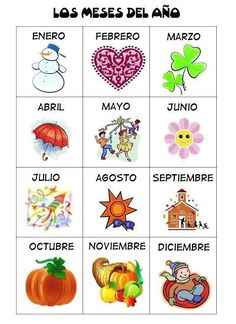 Meses enEspañol #Spanish #online for children and teenagers, guided by Spanish native teachers in Spain. www.spanish-school-herradura.com http://easywayspeakspanish.blogspot.com #spanishforpreschoolers