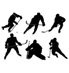 Ice hockey player silhouette vector on VectorStock